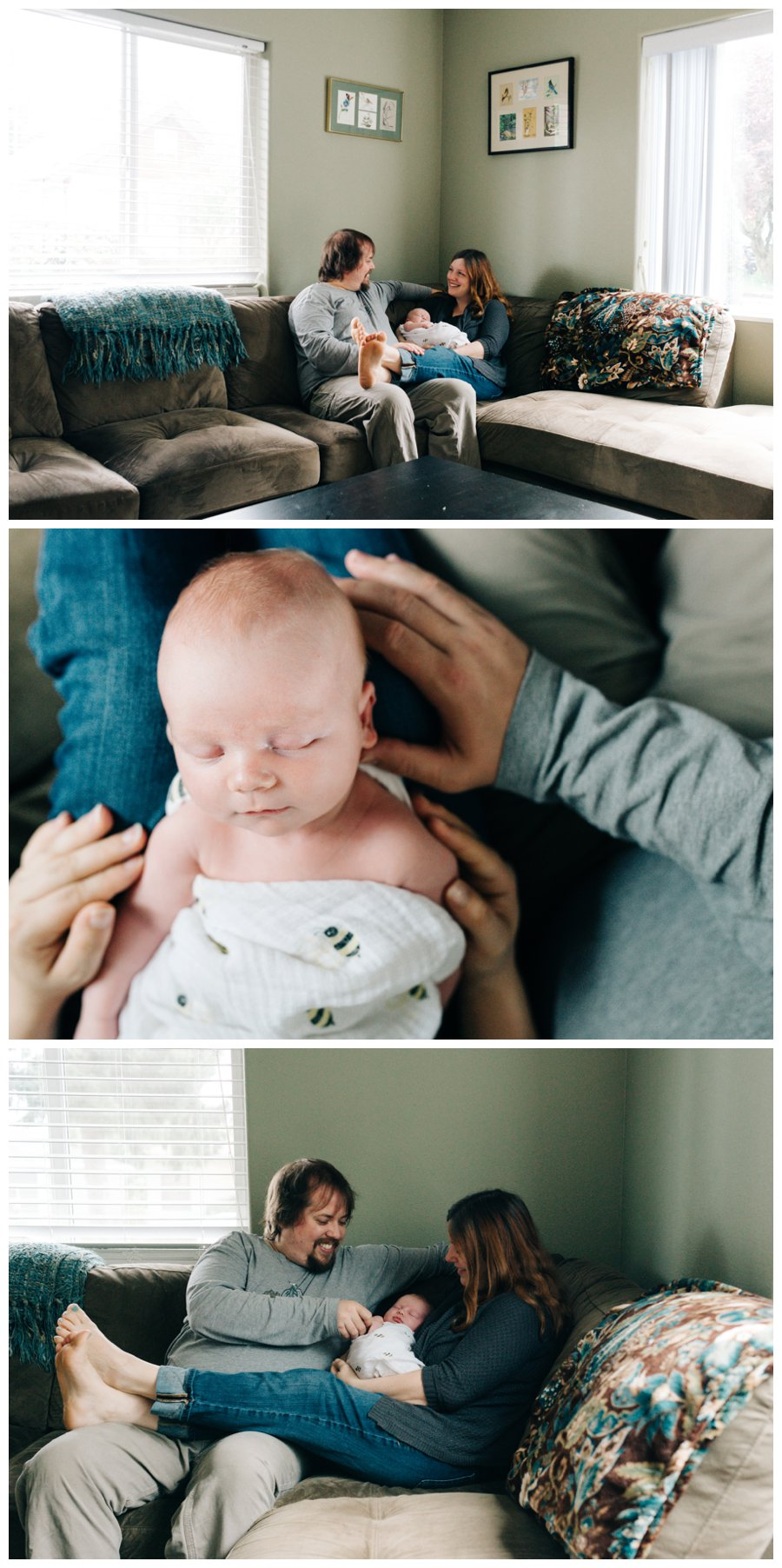 family of newborn boy sitting on couch storytelling photography portland